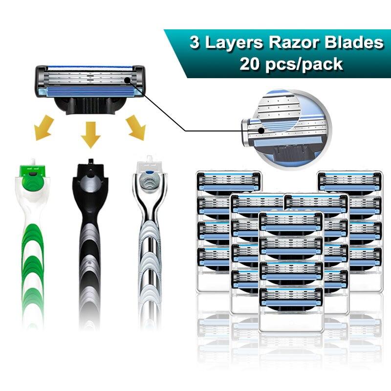 Lâminas de barbear masculinas caber gillette mach 3 turbo sensível 3 camadas cassetes manual lâminas de barbear cabeças substituíveis 20 unidades/pacote
