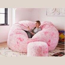 Big Round Bean Bag Chair Cover confortevole morbido gigante Fluffy Faux BeanBag Lazy Sofa Bed Cover Pouf reclinabile 5FT