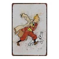 Tintin Voiture Dessin Anime En Metal Etain Signe Shabby Chic Vintage Plaque stickers Muraux Enfants Chambre Bar Maison Art Artisanat Decor de Cinema 30X20CM DU-2923