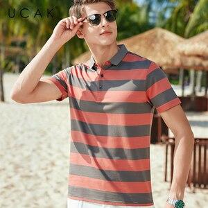 UCAK Brand Classic Turn-down Collar Striped T-Shirt Men Clothes Summer New Fashion Style Streetwear Casual Cotton Tee Tops U5602