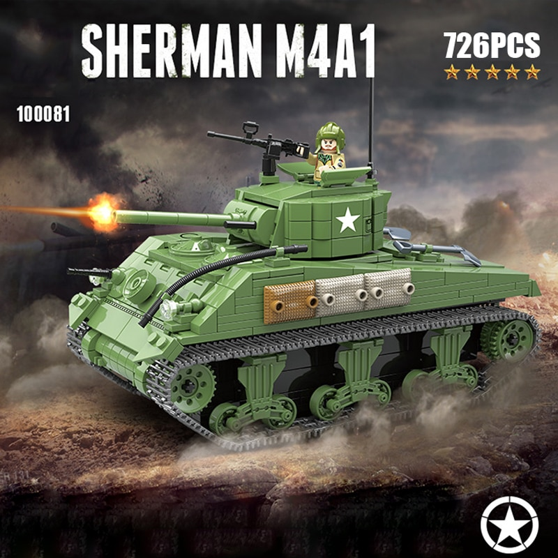 Ww2 m4a1 sherman médio tanque batisbricks bloco de construção guerra mundial estados unidos figuras do exército modelo arma tijolos coleção brinquedos