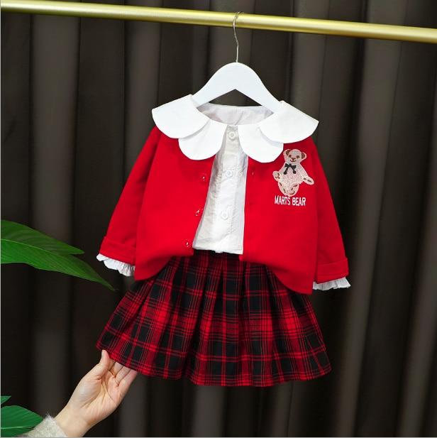 Girls clothing sets spring autumn children fashion cotton coat shirt dress 3pcs tracksuits for baby girl toddler school ontfits