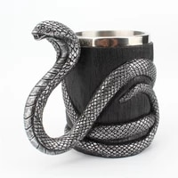 silver black cobra cup stainless steel resin double layer mug office and household cup coffee cup mug cup stainless cup