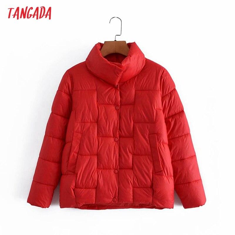 سترات تانغدا 2021 الشتوية للنساء ذات الحجم الكبير معطف أنيق ودافئ للنساء بجيوب سميكة 2G54