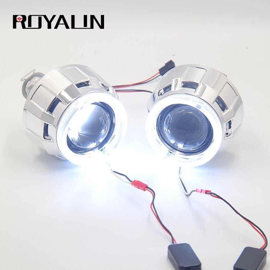 ROYALIN DRL Bi Xenon faro halógeno lente LED Ojos de Ángel proyector H1 H4 H7 coche motocicleta luces retroadaptadas anillos Halo blanco