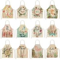 kitchen apron waterproof women cartoon animal sleeveless cotton linen kitchen cooking aprons home cleaning tools