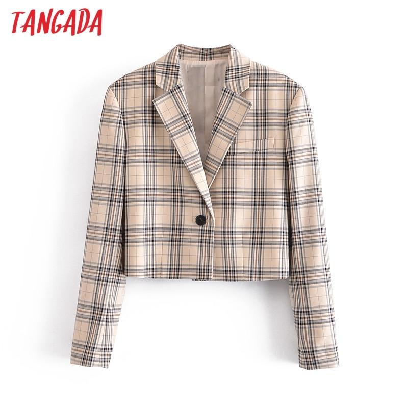 Tangada-سترة كاروهات كلاسيكية بأكمام طويلة للنساء ، سترة قصيرة مطبوعة ، ملابس خارجية أنيقة ، عتيقة ، 3H267 ، موضة 2021