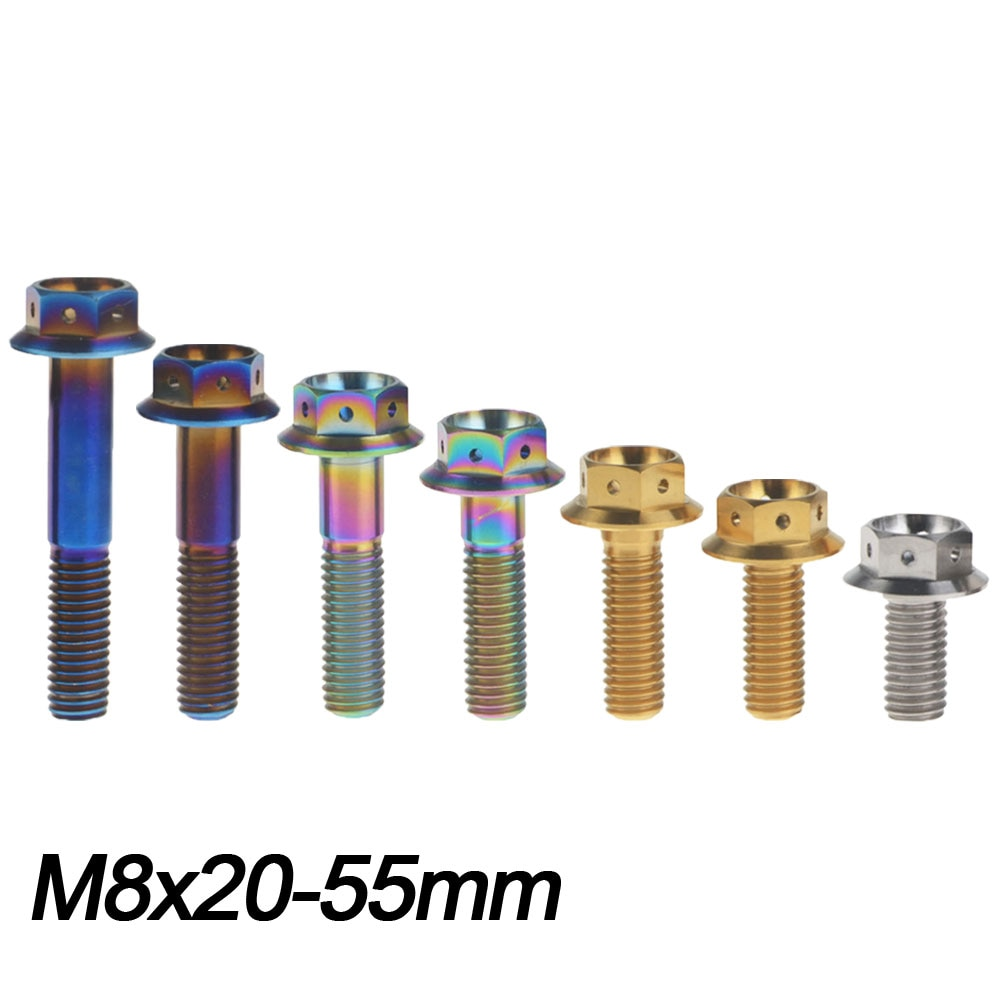 Tornillo de titanio Xingxi M8x20 25 30 35 40 45 55mm cabeza Hexagonal exterior tornillo Ti para sujetadores de Piezas de motocicleta de bicicleta