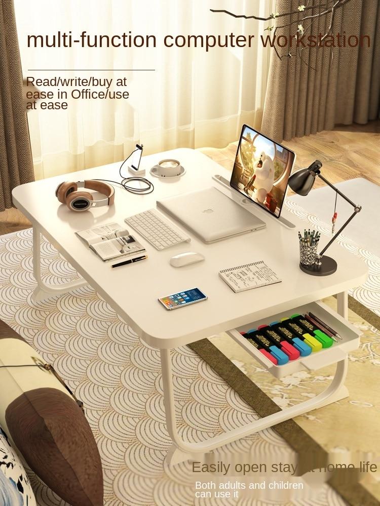 Mesa de centro plegable para estudiantes universitarios de escritorio pequeño con ventana mesa de aprendizaje de ordenador