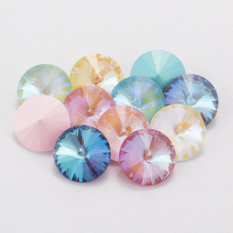 Mezcla de Mocha fluorescente Rivoli fantasía diamantes de imitación sueltos para la ropa joyería decoración Pointback Strass cuentas de cristal apliques