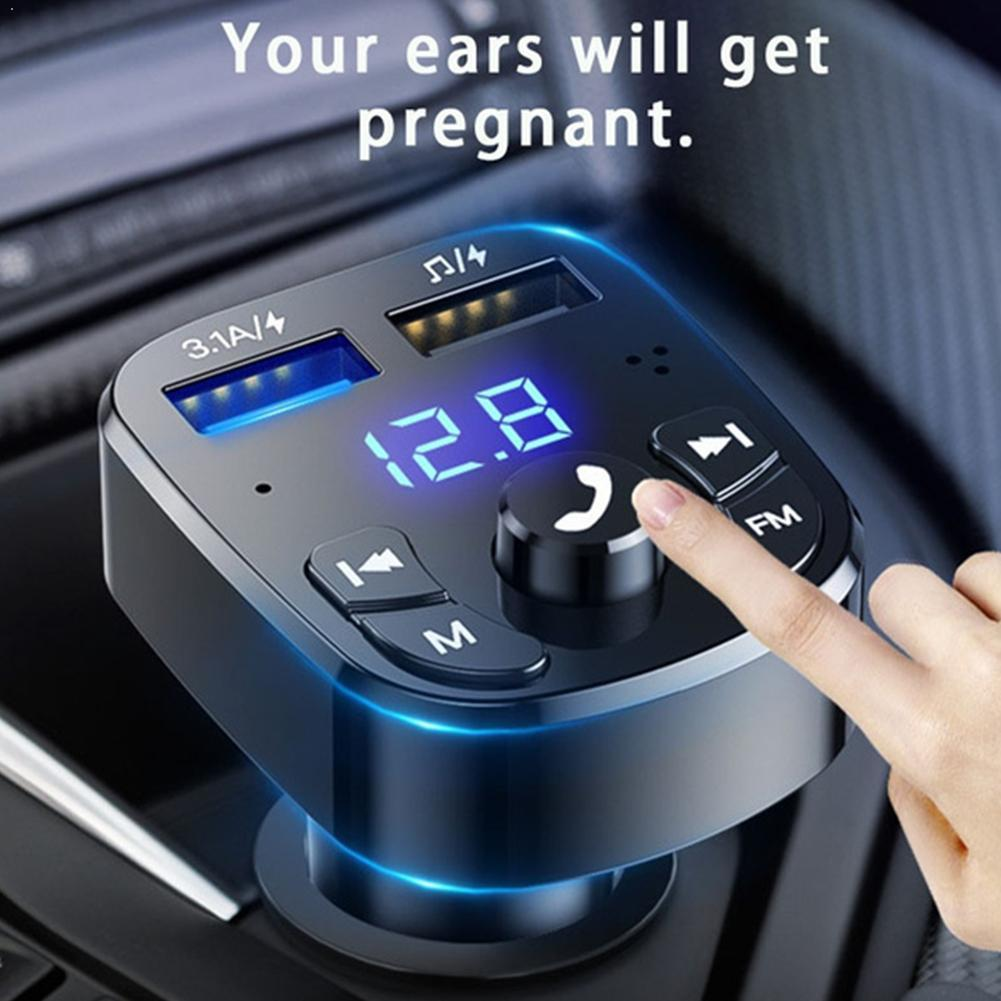 Car Hands-free Wireless Bluetooth FM Transmitter MP3 Charger Dual Equipped Player Bluetooth LED Disp