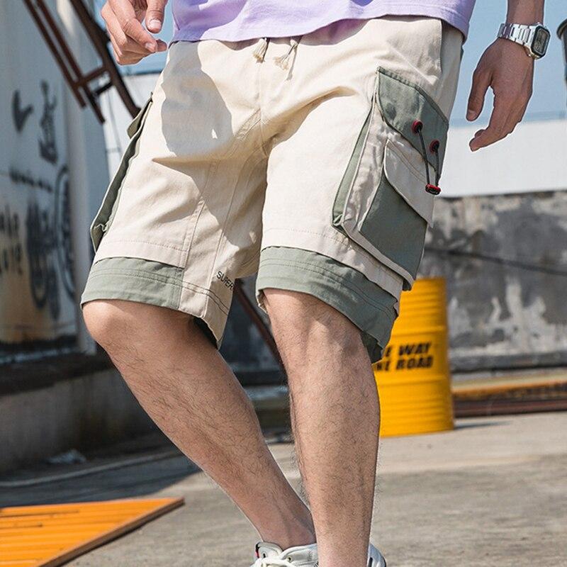 Фото - ERIDANUS Brand Men Cargo Shorts Men's High Street Fashion Wild Shorts Summer New Patchwork Casual Straight Shorts Male MKD045 mark wild street meeting