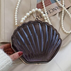Transparent Acrylic Tote Shell Bag for Women 2021 Fashion High Quality PVC Designer Handbag Pearl Strap Shoulder Messenger Bag