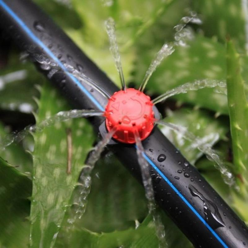 100 x rociador de riego de jardín ajustable Micro 1/4 pulgadas manguera gotero de flujo de agua