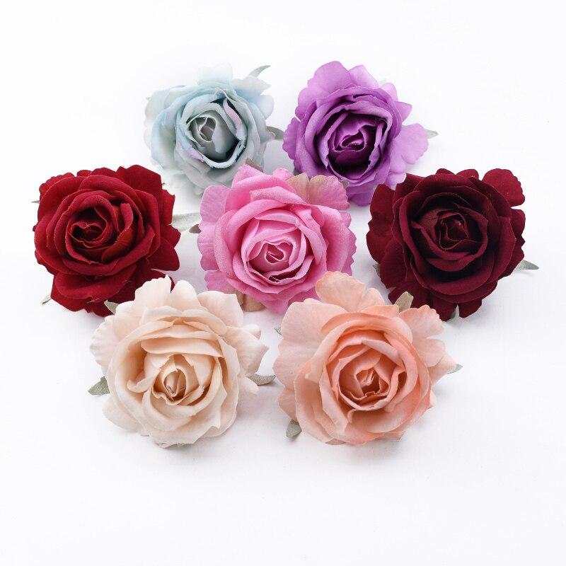 5/10 Uds. Venta al por mayor boda Rosa falsa pared de flores regalos del Día de San Valentín accesorios nupciales liquidación decoración de Navidad para el hogar