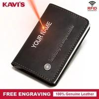 kavis 2021 credit card holder wallet men women rfid aluminium box vintage crazy horse real leather id cardholder case engraving