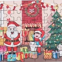 creative christmas gifts for children 60 pieces of handmade wooden santa puzzles hands on educational toys new year holidaygifts