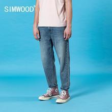 SIMWOOD 2020 été nouveau laser lavage en vrac conique jean hommes classique cheville longueur décontracté denim pantalon grande taille coton pantalon