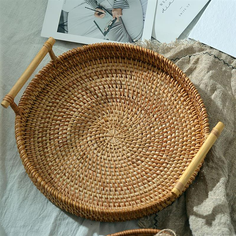 Rattan Handwoven Round High Wall Severing Tray Food Storage Platters Plate Over Handles For Breakfas