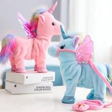 뜨거운 장난감 35cm 전기 산책 유니콘 플러시 장난감 동물 장난감 전자 음악 유니콘 장난감 어린이 크리스마스 선물