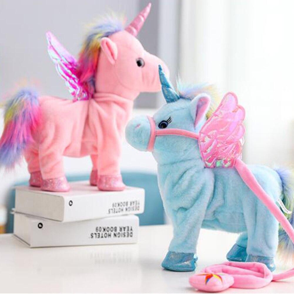 Hot Toys 35cm Electric Walking Unicorn Plush Toy Stuffed Animal Toy Electronic Music Unicorn Toy for Children Christmas Gifts