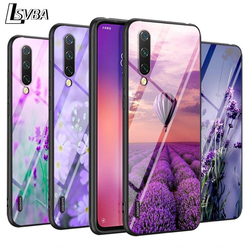 lavender Purple flowers for Xiaomi Mi Note 10 9T CC9 Pro 9 SE 8 A3 A2 A1 Lite Play Mix 3 Super Bright Black Phone Case