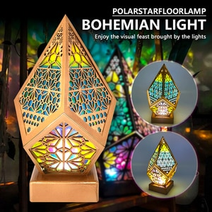 Rainbow Bohemian Light Romantic Star Floor Lamp Colorful 3D Projection Hollow Lamp Art Crafts Gifts For Home Party Decor Gifts