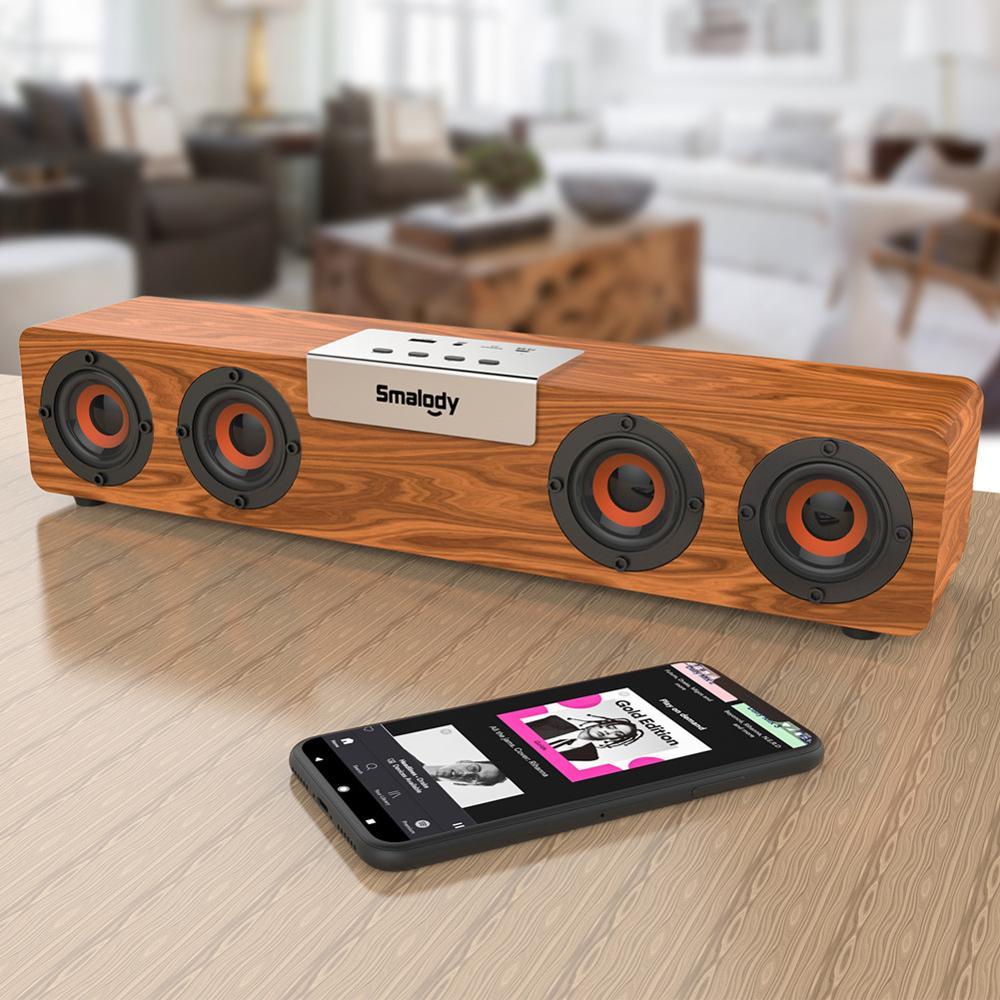 Barra De sonido De madera con Bluetooth, sistema De cine en casa,...
