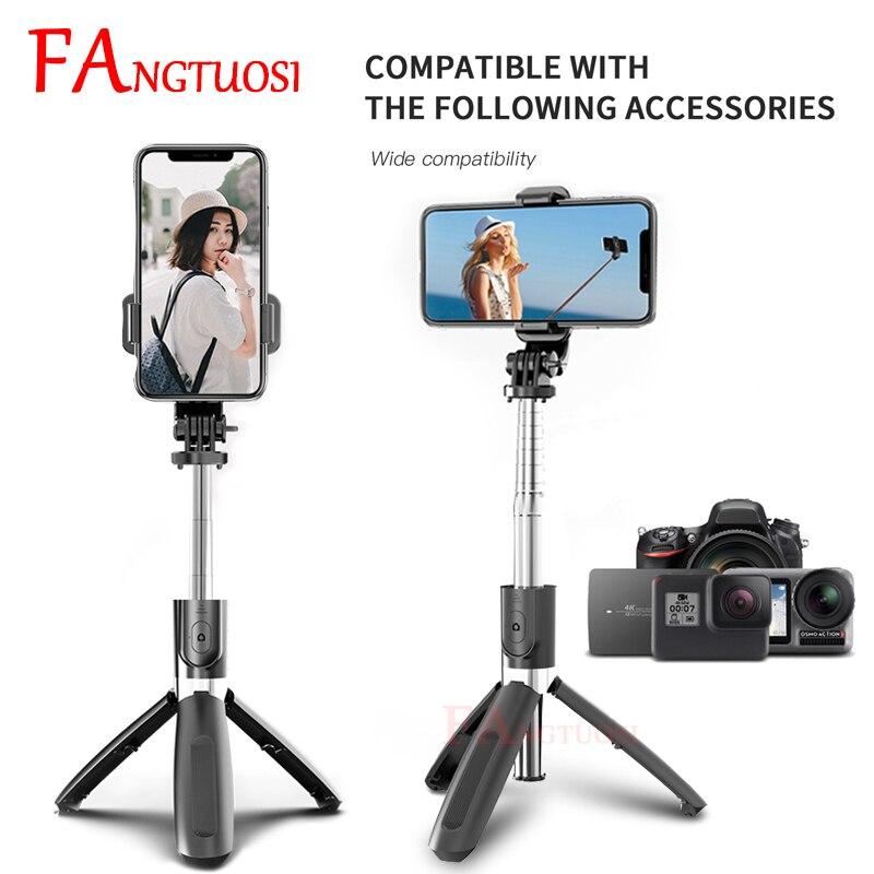 FANGTUOSI 2020 nouveau sans fil selfie bâton extensible pliable monopode Bluetooth selfie bâton trépied pour iphone caméra DSLR