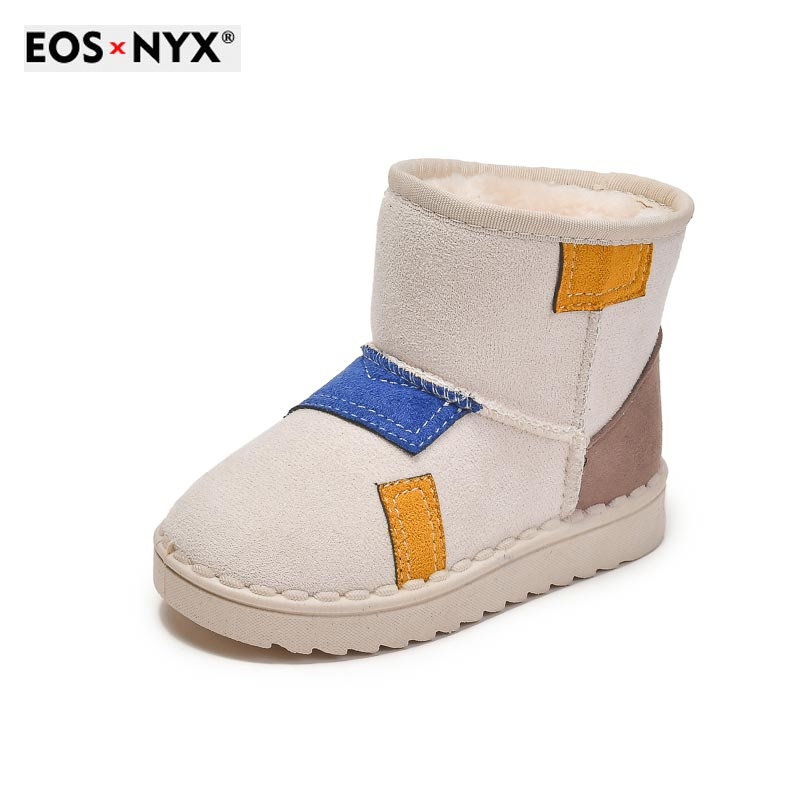 EOSNYX 2021 New Kids Fashion Snow Boots for Boys Girls New Winter Keep Warm Plush Kids Short Boots D