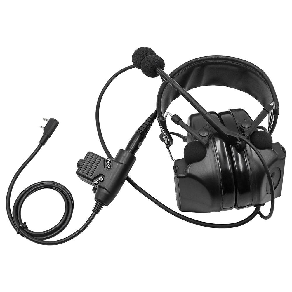 التكتيكية سماعة Comtac II العسكرية سماعات الحد من الضوضاء لاقط سماعة سدادات حماية الأذن اطلاق النار للأذنين BK + U94 PTT التوصيل