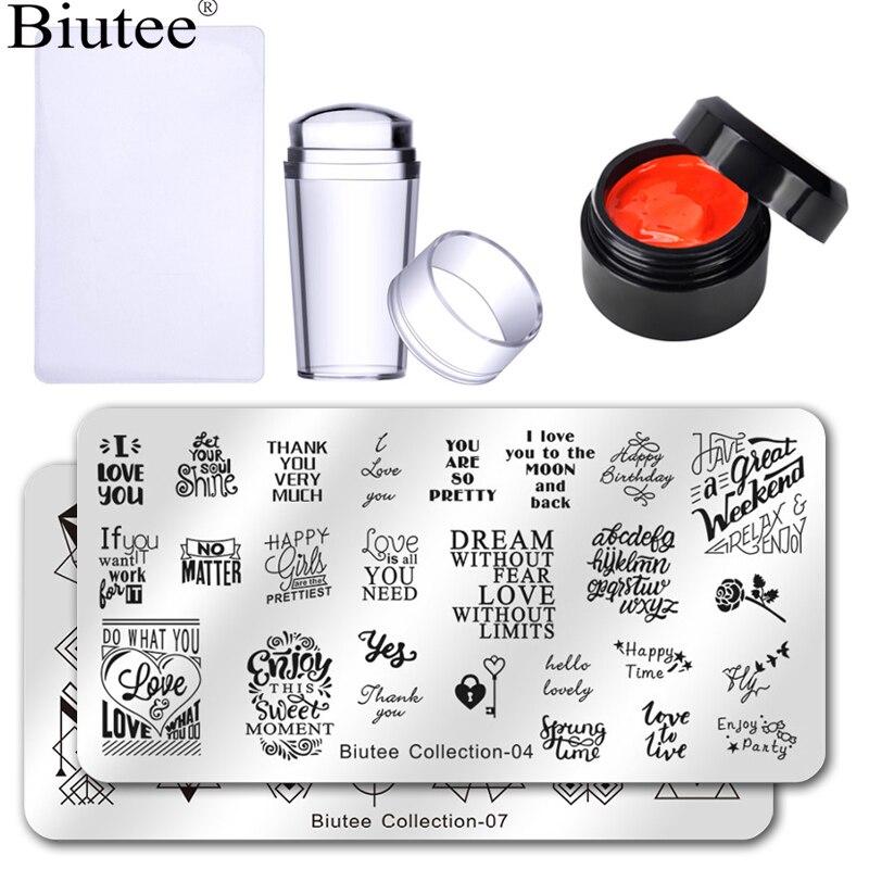 Набор гель-лаков Biutee для стемпинга, 12 цветов, набор гелевых эмалированных шаблонов, набор силиконовых стемперов для стемпинга, Гель-лак для ногтей