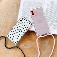 wave point strap cord chain transparent phone case for iphone 12mini 11 pro xs max xr x 7 8 plus se neck lanyard carry hang case