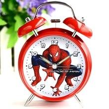 Дисней «Человек паук», «Человек паук» с рисунком из аниме для детей мальчик прикроватная Будильник немой звон творческий простой светильник часы