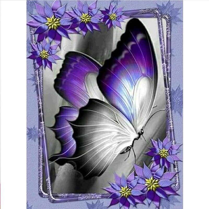 Fioletowy motyl 5d diy obraz zwierzęcia haft diamentowy diament haft mozaika ściegu rhinestone ozdoby do dekoracji wnętrz drop shipping