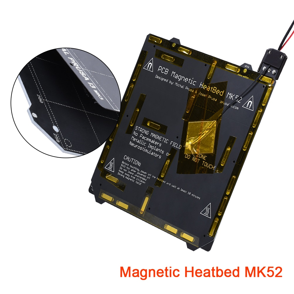 Cama caliente Clone Prusa I3 MK3 MK52 Panel magnético 24V y placa de acero con resorte texturizado PEI Film 3D plataforma de impresión kit Heatbed