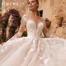 ETHEL ROLYN 로맨틱 a 라인 웨딩 드레스 긴 소매 단추 환상 Appliques Vestido De Noiva 로브 드 Mariee 신부 드레스