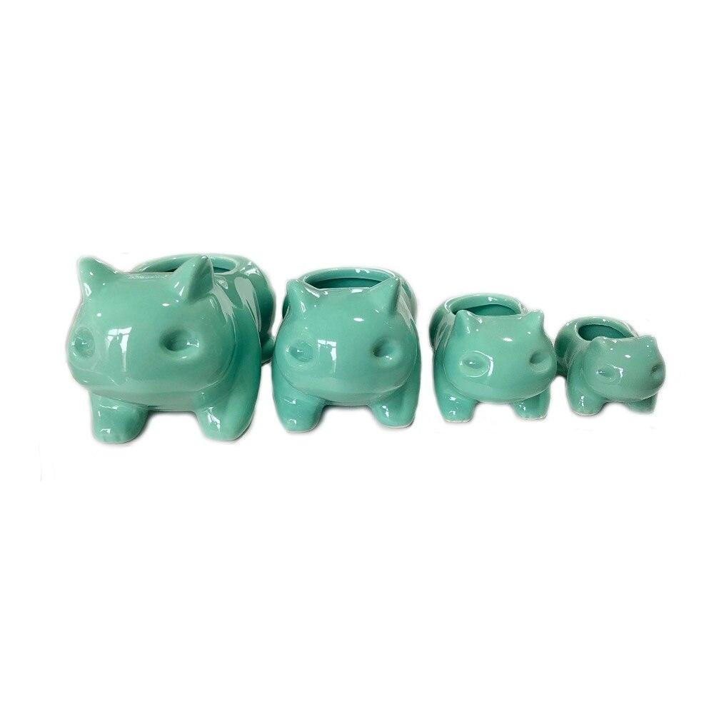 Maceta de cerámica Kawaii para suculentas, maceta de plantas y flores verde con agujero