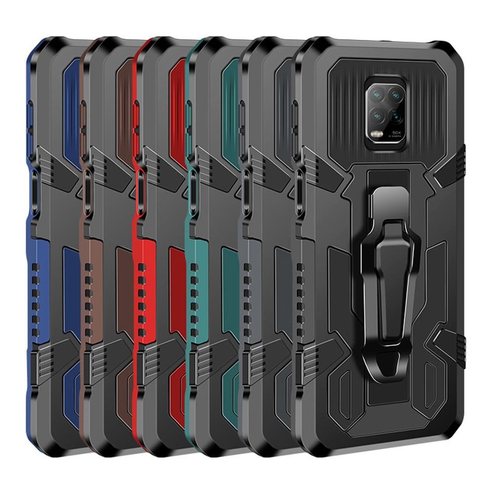 Robusto caso de telefone armadura para xiaomi redmi nota 7 9 10 6a 5a à prova de choque kickstand com clipe caso para xiaomi nota vermelha 8 7pro