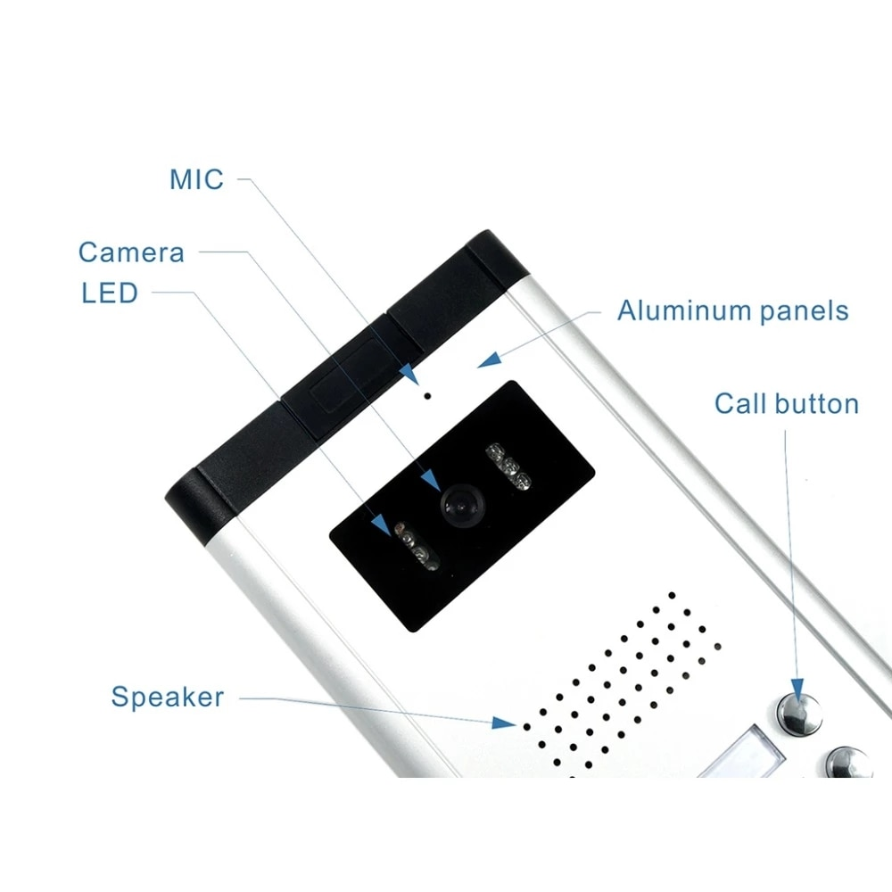 New 2/3/4 Unit Apartments Video Doorphone Intercom System 7 Inch Moniter for for 2-4 Household Apartment Home Security enlarge