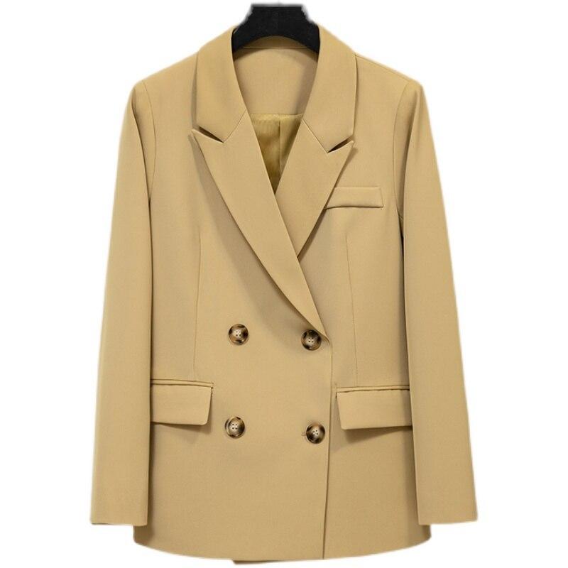 سترة نسائية قصيرة 2021 ربيع جديد ملابس الشارع الصلبة محززة مزدوجة الصدر مكتب السيدات السترة معطف الإناث دعوى السترات