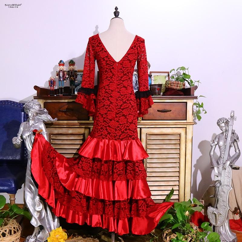 فستان دانتيل بفتحة رقبة على شكل v للنساء ، عرض ممارسة إسباني أصلي ، فلامنغو ، DTT32