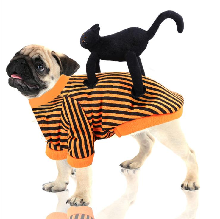 halloween magician style cotton coat cap suit for pet cat dog white black s Cosplay Dog Clothes For Medium dog Funny black cat standing  Costume Pet Dog Party Cosplay Dog Clothes Dog Halloween Costume