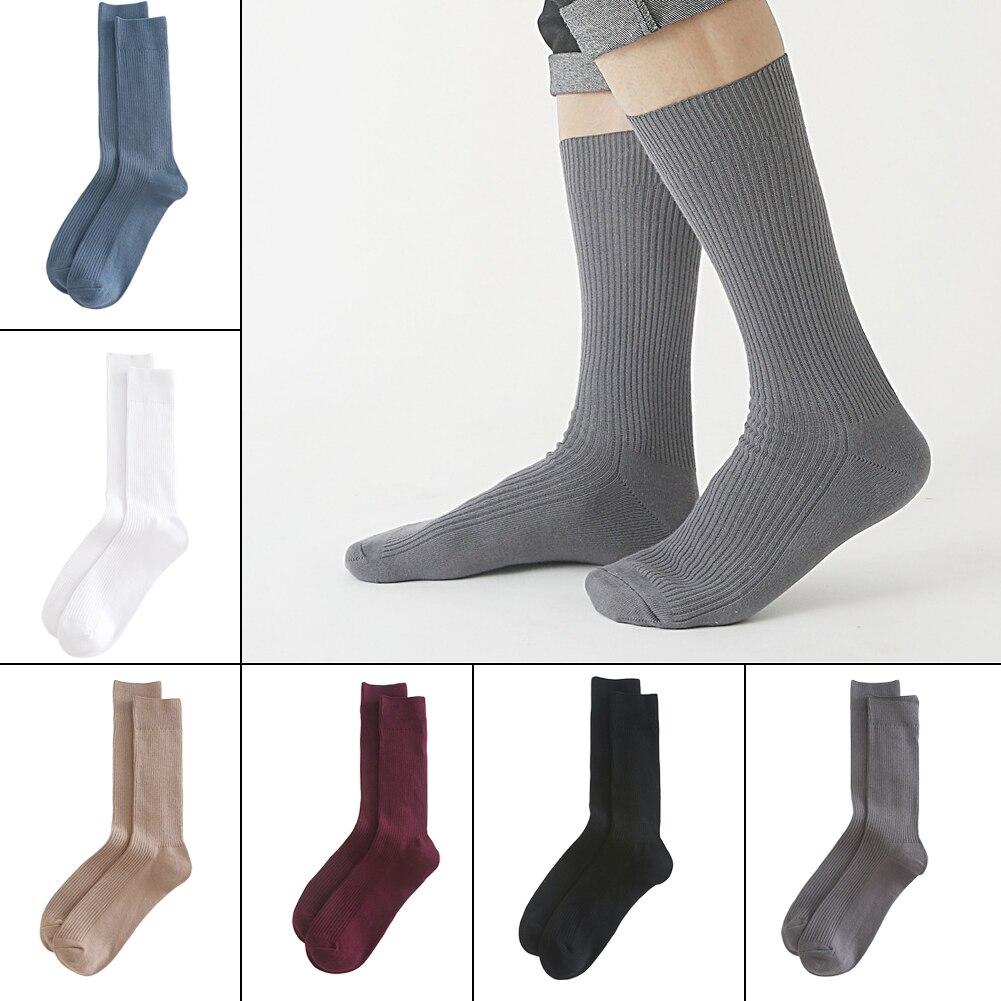Calcetines casuales de invierno para hombre, calcetines de algodón, mezcla de algodón, absorción suave del sudor, Anti-roce, negocios, cálido, Otoño, deporte, espesar calcetines de Color sólido
