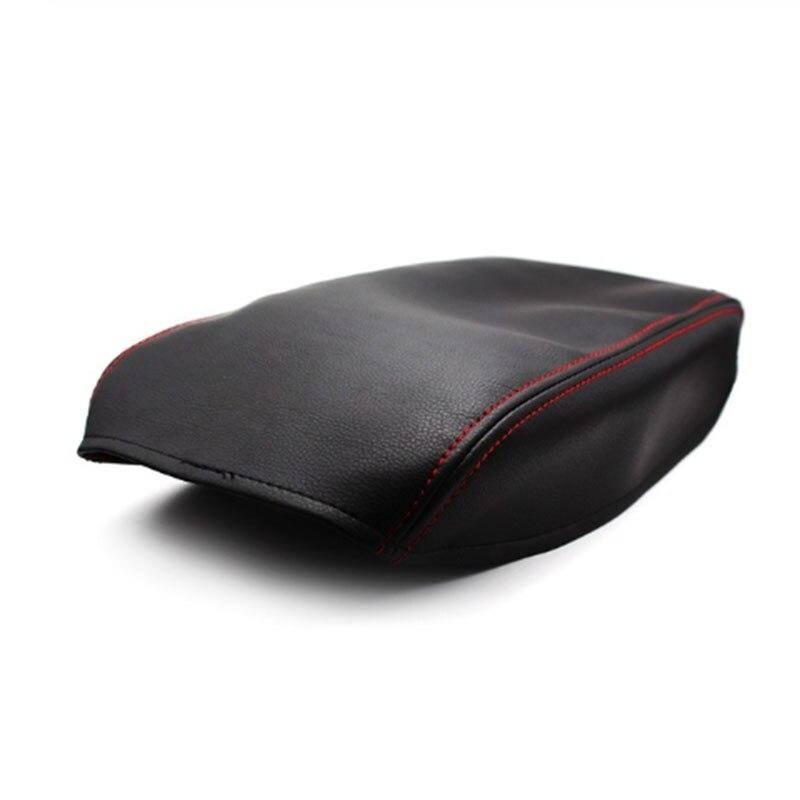 Cubierta de compartimento central para coche, cubierta de compartimento de reposabrazos de cuero negro/negro con costuras rojas para Toyota Camry 2006 2007 2008 2009 2010 2011