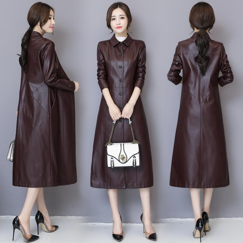 HAOOHU 2020 winter new women's leather jackets fashion high street solid long sleeve slim elegant eye catching X-Long coats enlarge