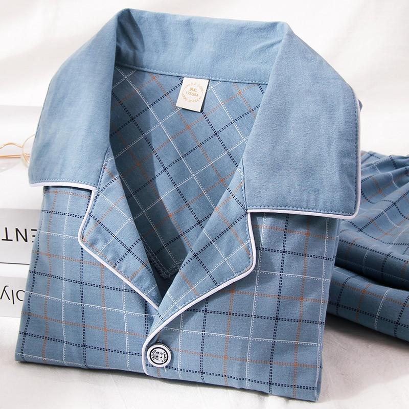 100% Cotton Pijama for Men 2 Pieces Lounge Sleepwear Pyjamas Plaid Autumn Bedgown Home Clothes Man PJs Pure Cotton Pajamas Set