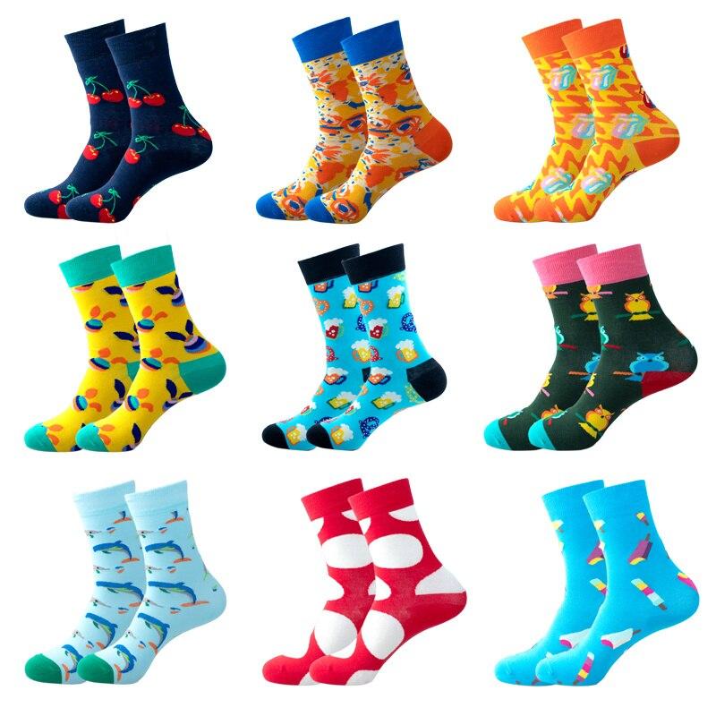 Модные мужские спортивные носки, высококачественные мужские носки из чесаного хлопка с красочным принтом, модные смешные длинные носки
