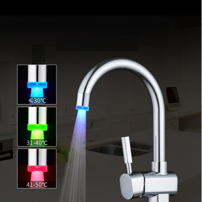 New LED Temperature Sensitive Faucet ABS Multi Color Corrosion Resistance Kitchen Bathroom Water Saving Accessories Home Fixture