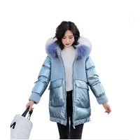 2021 womens fashion lamb wool splicing cotton clothes womens new winter middle and long